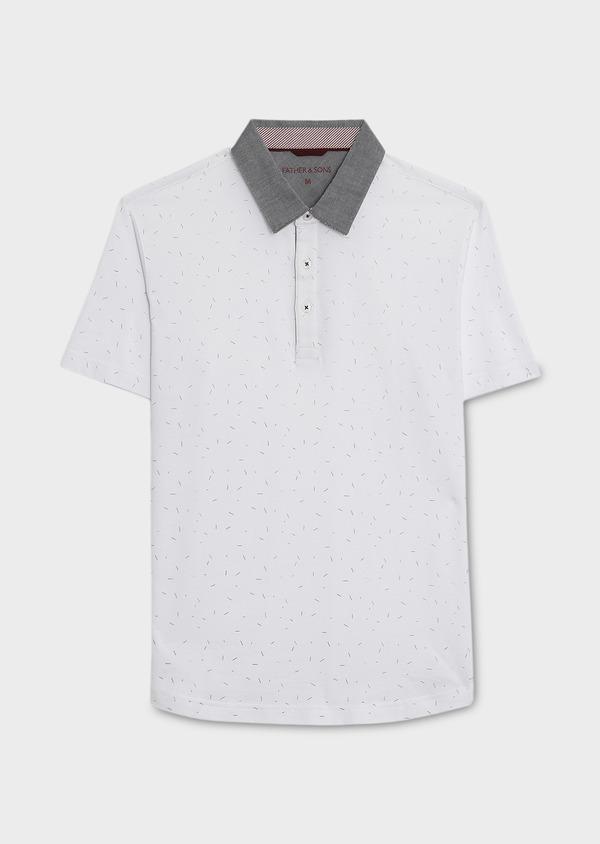 Polo manches courtes Slim en coton blanc à motifs multicolores - Father and Sons 7645