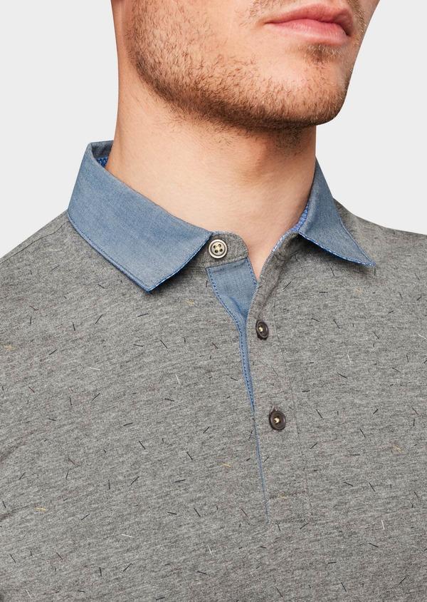 Polo manches courtes Slim en coton gris clair à motifs - Father and Sons 7657