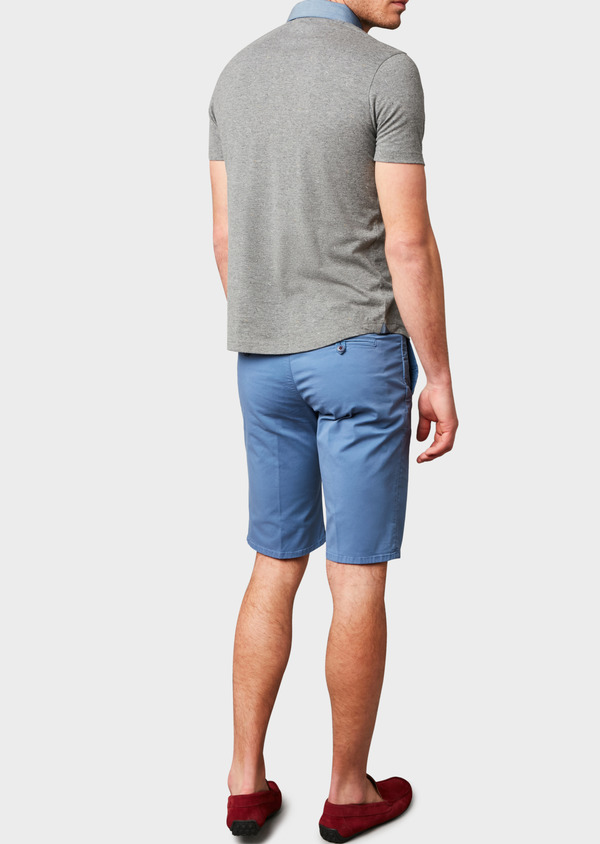 Polo manches courtes Slim en coton gris clair à motifs - Father and Sons 7656
