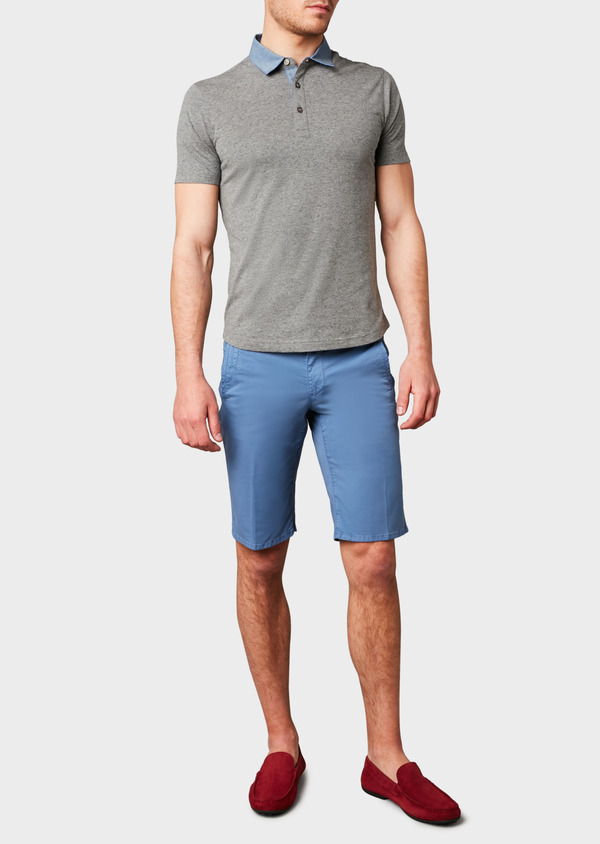 Polo manches courtes Slim en coton gris clair à motifs - Father and Sons 7655