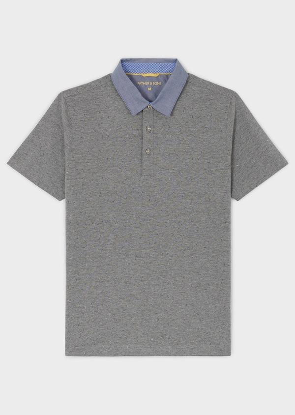 Polo manches courtes Slim en coton gris clair à motifs - Father and Sons 7653
