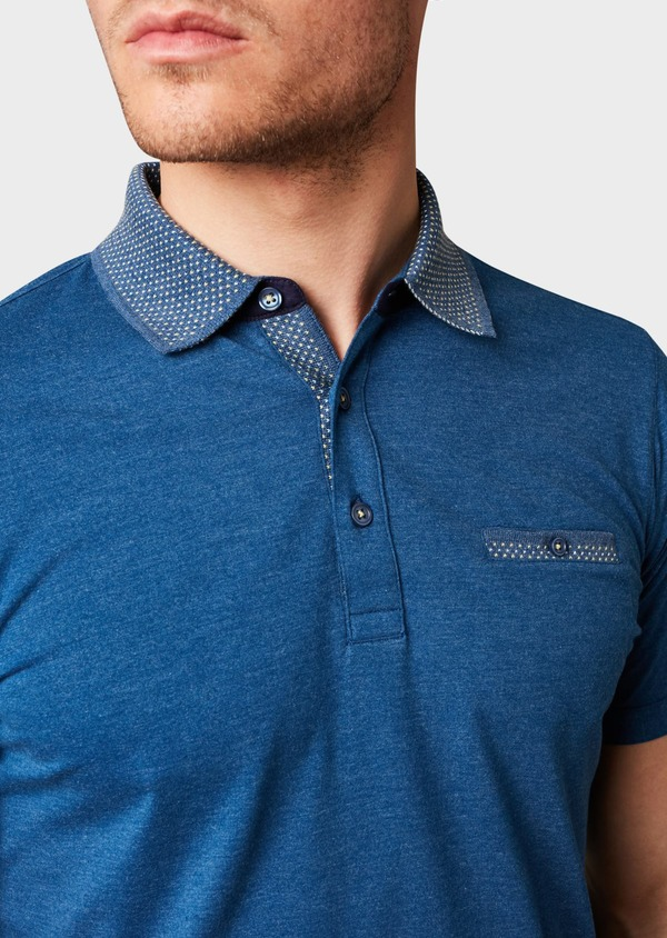 Polo manches courtes Slim en coton uni bleu chiné - Father and Sons 7561