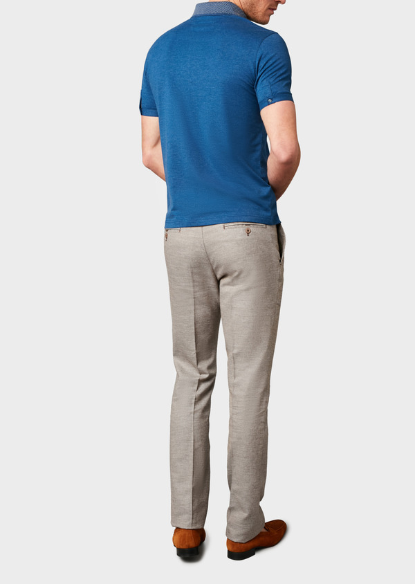 Polo manches courtes Slim en coton uni bleu chiné - Father and Sons 7560