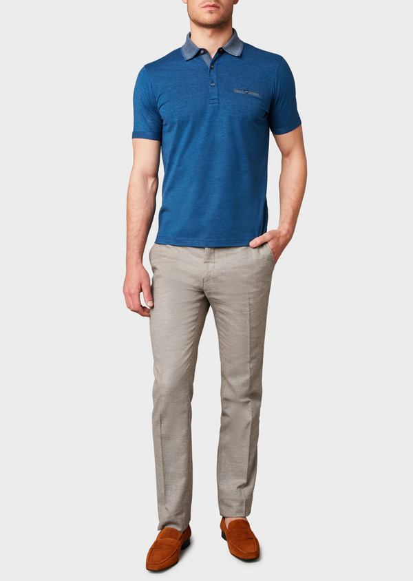 Polo manches courtes Slim en coton uni bleu chiné - Father and Sons 7559