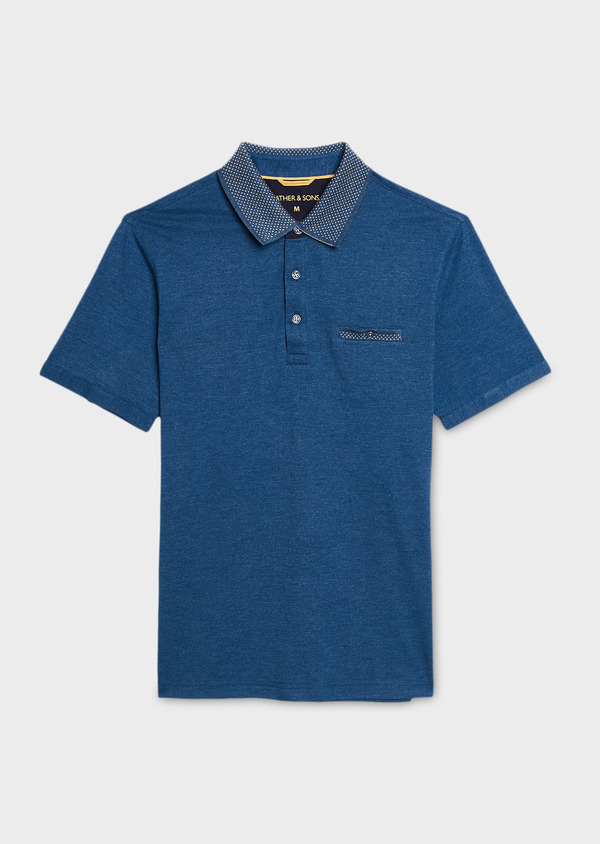 Polo manches courtes Slim en coton uni bleu chiné - Father and Sons 7557