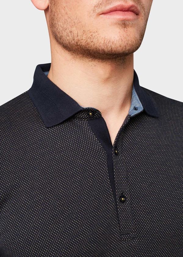 Polo manches courtes Slim en coton bleu marine à motifs jaunes - Father and Sons 7521