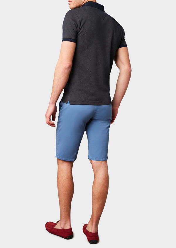 Polo manches courtes Slim en coton bleu marine à motifs jaunes - Father and Sons 7520