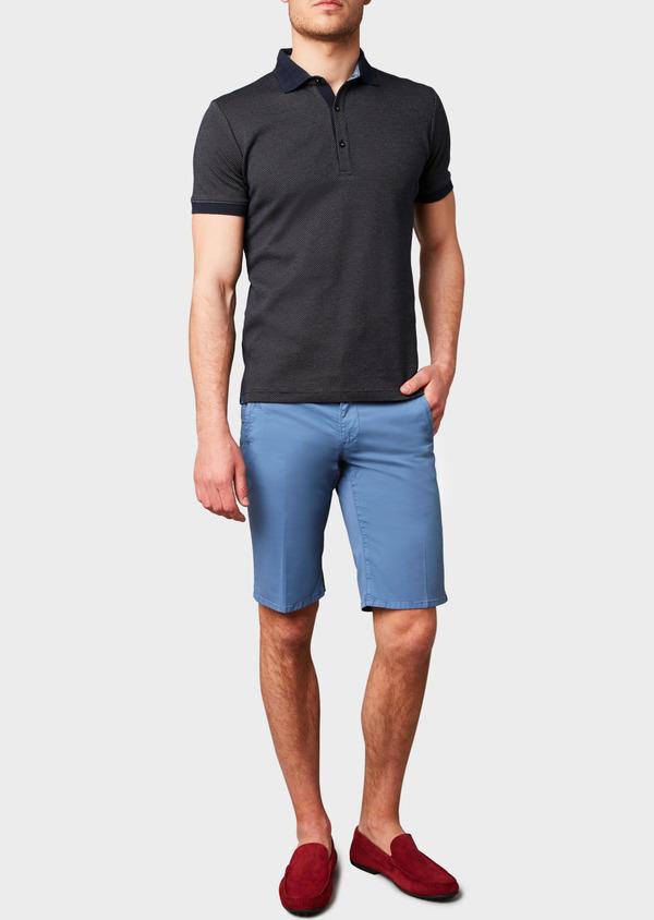 Polo manches courtes Slim en coton bleu marine à motifs jaunes - Father and Sons 7519