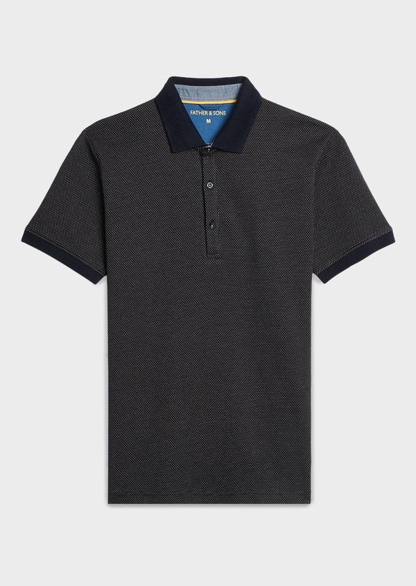 Polo manches courtes Slim en coton bleu marine à motifs jaunes - Father and Sons 7517