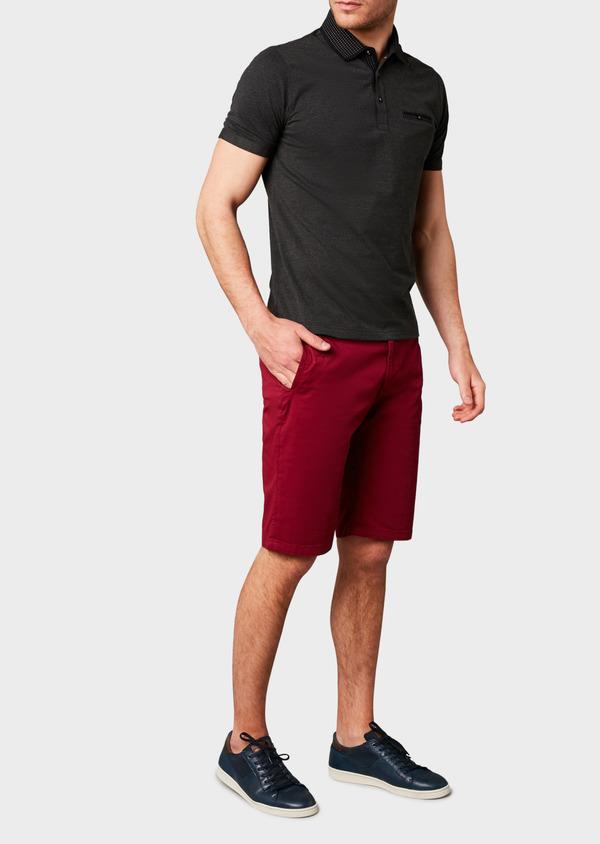 Polo manches courtes Slim en coton uni noir - Father and Sons 7551