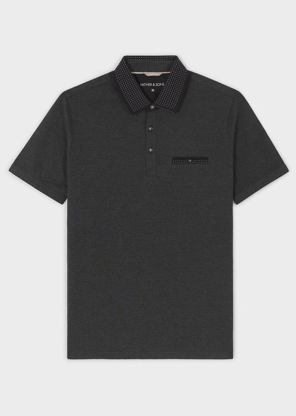 Polo manches courtes Slim en coton uni noir - Father and Sons 7549