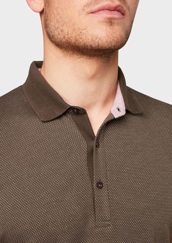 Polo manches courtes Slim en coton marron à motifs rose pale - Father and Sons 7529