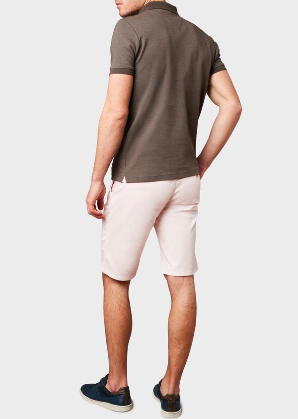 Polo manches courtes Slim en coton marron à motifs rose pale - Father and Sons 7528