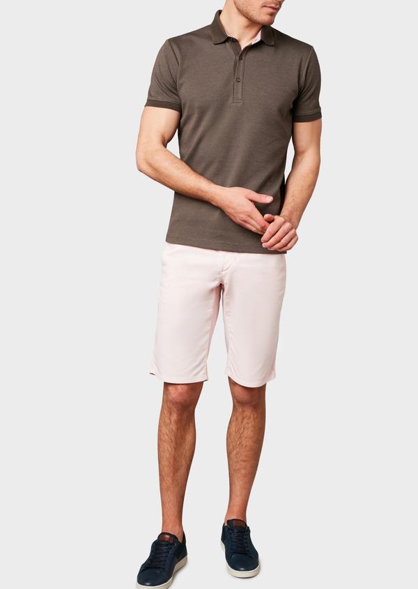 Polo manches courtes Slim en coton marron à motifs rose pale - Father and Sons 7527