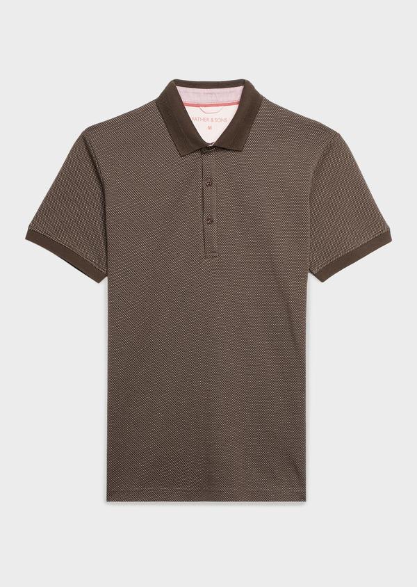 Polo manches courtes Slim en coton marron à motifs rose pale - Father and Sons 7525