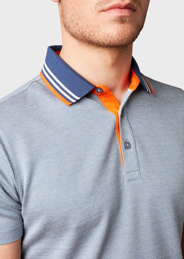 Polo manches courtes Slim en coton bleu à motifs blancs - Father and Sons 7721