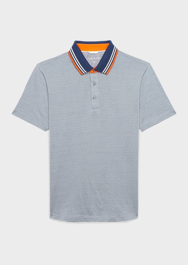 Polo manches courtes Slim en coton bleu à motifs blancs - Father and Sons 7717