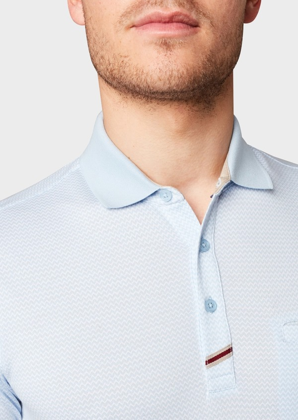 Polo manches courtes Slim en coton bleu clair à motifs zigzag - Father and Sons 8167