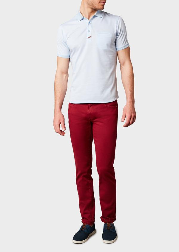 Polo manches courtes Slim en coton bleu clair à motifs zigzag - Father and Sons 8165