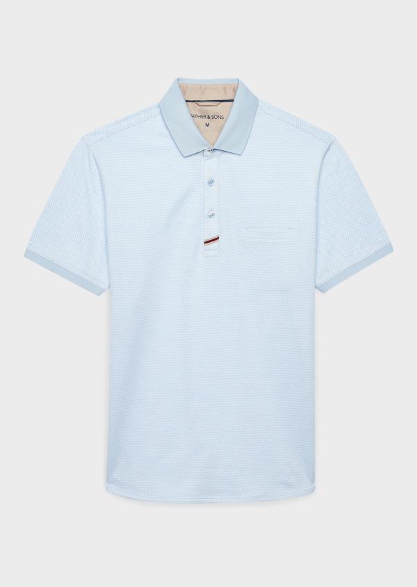Polo manches courtes Slim en coton bleu clair à motifs zigzag - Father and Sons 8163
