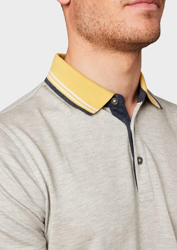 Polo manches courtes Slim en coton uni beige clair - Father and Sons 7729