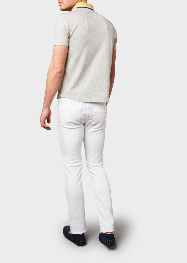 Polo manches courtes Slim en coton uni beige clair - Father and Sons 7728