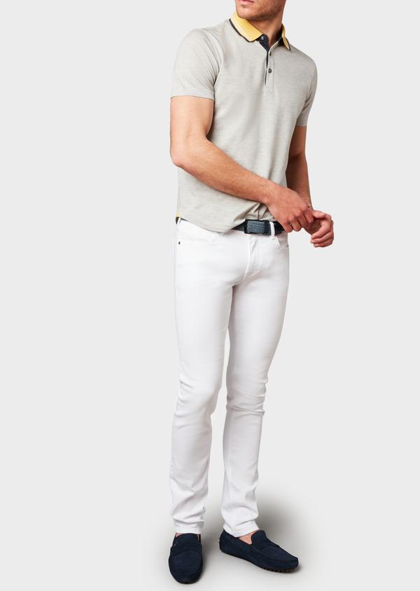 Polo manches courtes Slim en coton uni beige clair - Father and Sons 7727