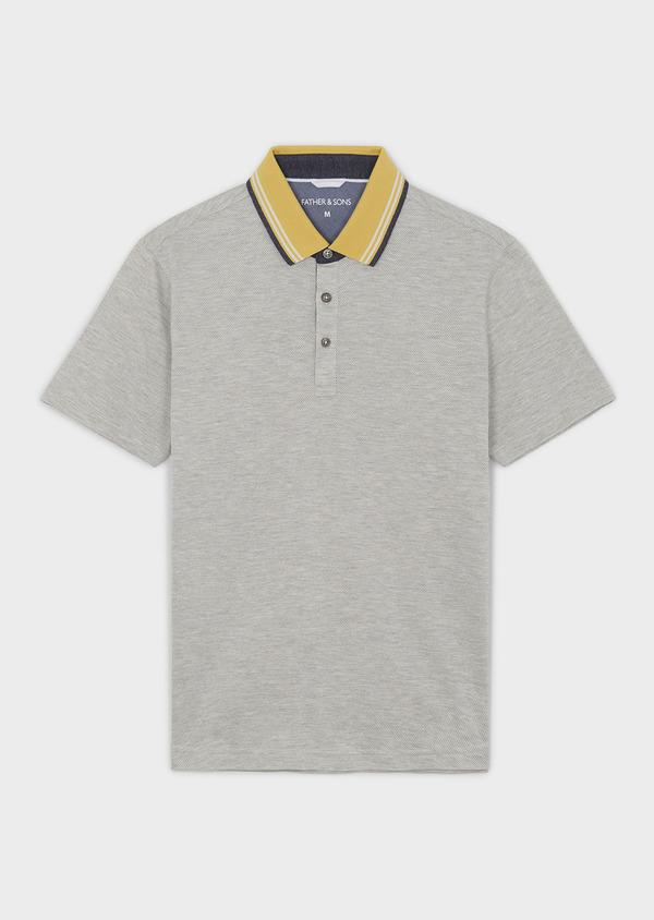 Polo manches courtes Slim en coton uni beige clair - Father and Sons 7725