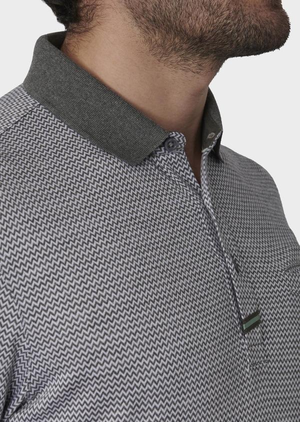 Polo manches courtes Slim en coton gris à motifs zigzag - Father and Sons 7745