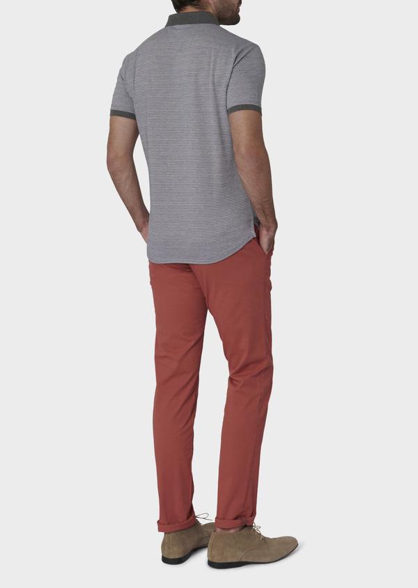 Polo manches courtes Slim en coton gris à motifs zigzag - Father and Sons 7744