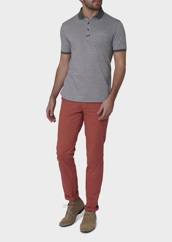 Polo manches courtes Slim en coton gris à motifs zigzag - Father and Sons 7743