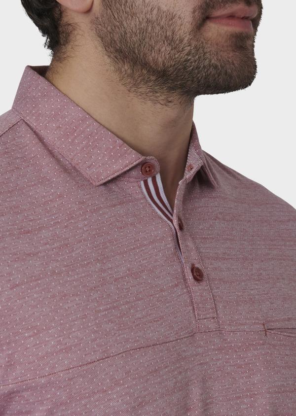 Polo manches courtes Slim en coton rose à motifs - Father and Sons 7665