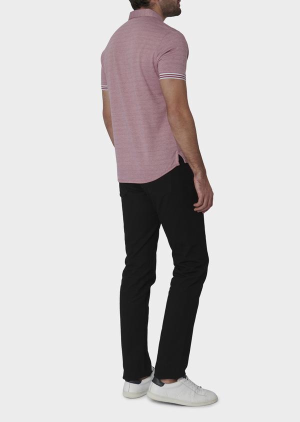 Polo manches courtes Slim en coton rose à motifs - Father and Sons 7664