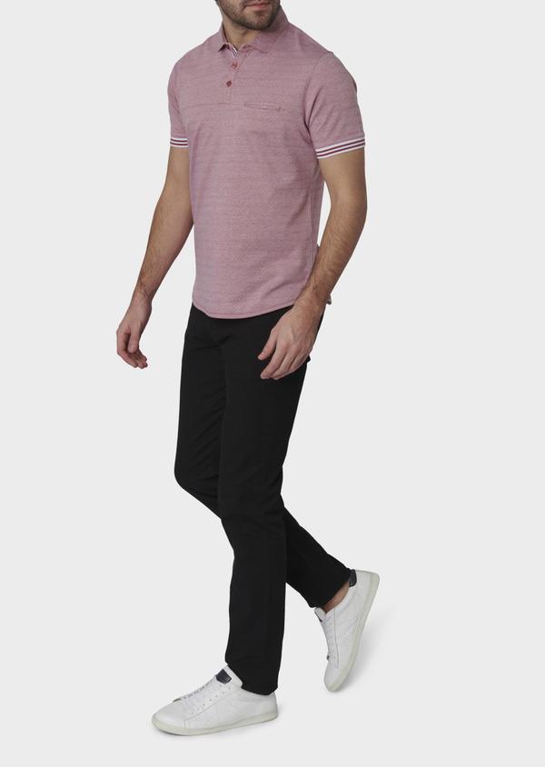Polo manches courtes Slim en coton rose à motifs - Father and Sons 7663