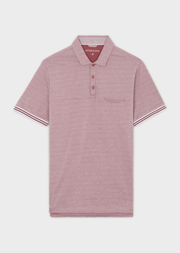 Polo manches courtes Slim en coton rose à motifs - Father and Sons 7661
