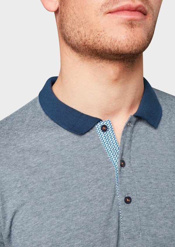 Polo manches courtes Slim en coton bleu indigo chiné - Father and Sons 7705