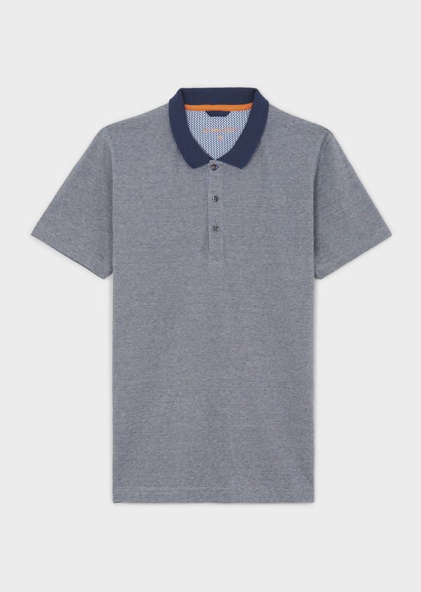 Polo manches courtes Slim en coton bleu indigo chiné - Father and Sons 7701
