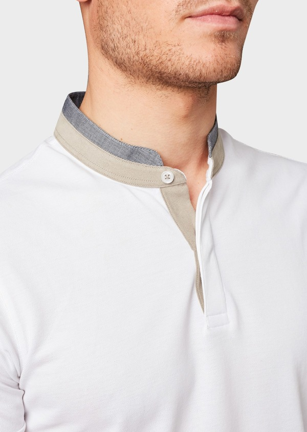 Polo manches courtes Slim en coton uni blanc - Father and Sons 7673