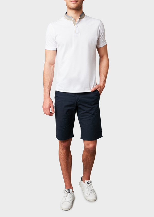 Polo manches courtes Slim en coton uni blanc - Father and Sons 7671