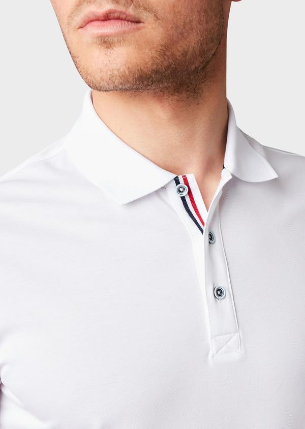 Polo manches courtes Slim en coton mercerisé blanc - Father and Sons 8175