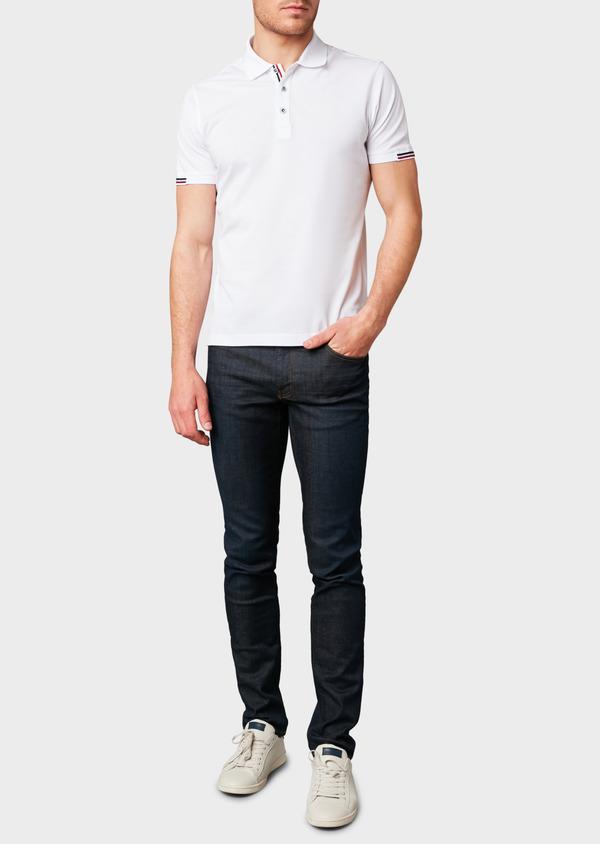 Polo manches courtes Slim en coton mercerisé blanc - Father and Sons 8173