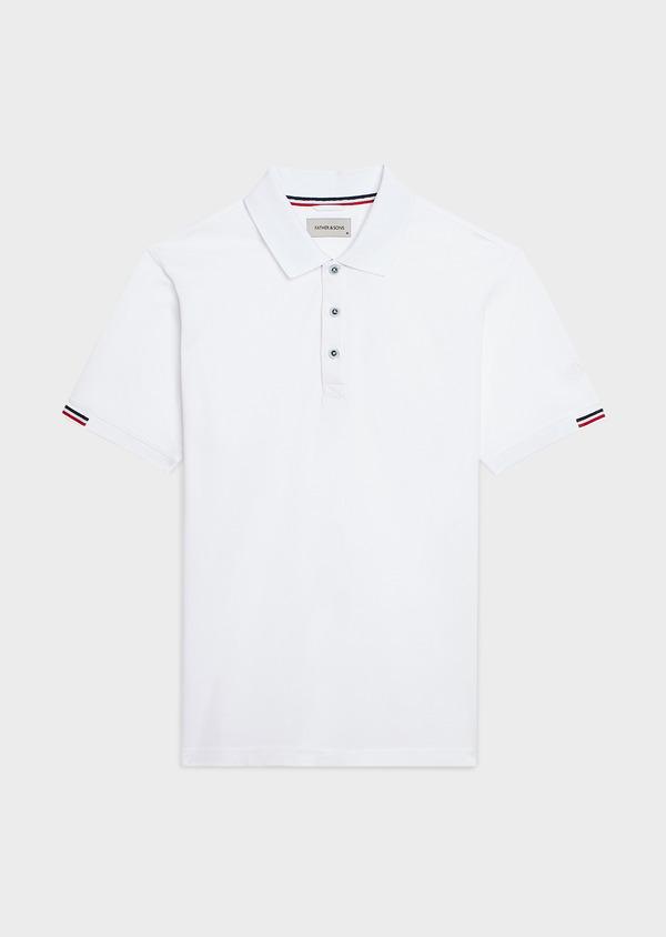 Polo manches courtes Slim en coton mercerisé blanc - Father and Sons 8171