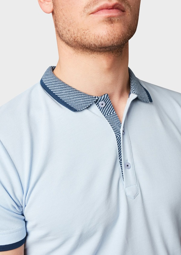 Polo manches courtes Slim en coton uni bleu ciel - Father and Sons 7609