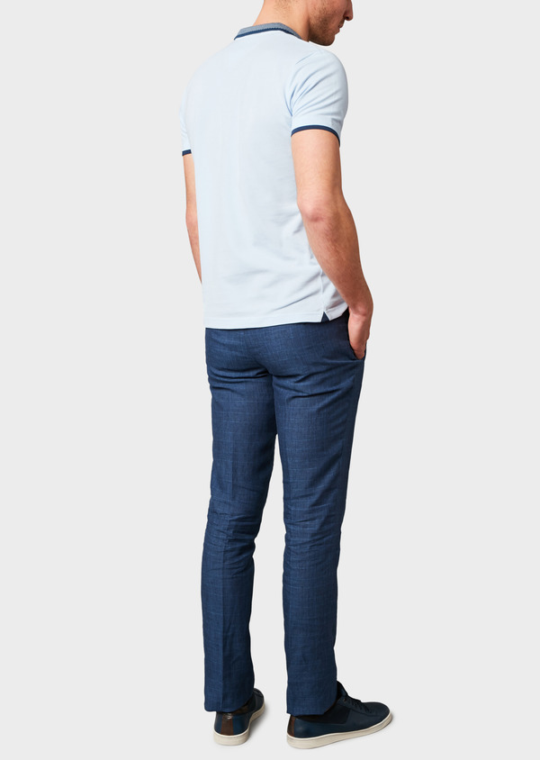 Polo manches courtes Slim en coton uni bleu ciel - Father and Sons 7608