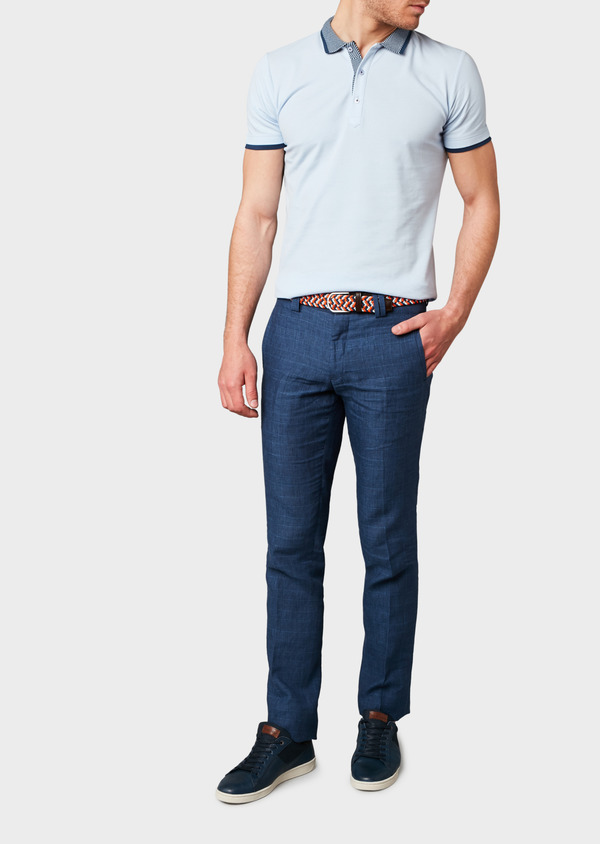 Polo manches courtes Slim en coton uni bleu ciel - Father and Sons 7607