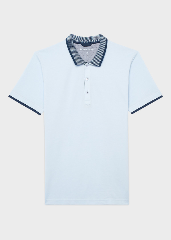 Polo manches courtes Slim en coton uni bleu ciel - Father and Sons 7605