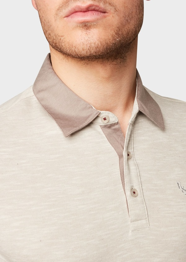 Polo manches courtes Slim en coton beige chiné - Father and Sons 7689