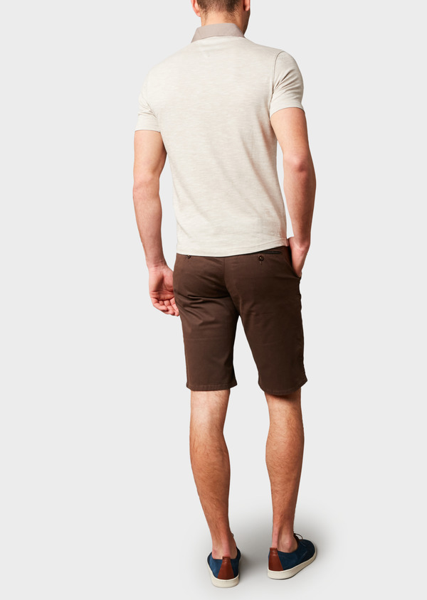 Polo manches courtes Slim en coton beige chiné - Father and Sons 7688