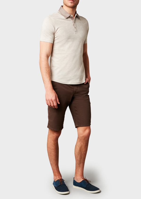 Polo manches courtes Slim en coton beige chiné - Father and Sons 7687