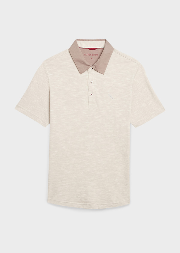 Polo manches courtes Slim en coton beige chiné - Father and Sons 7685